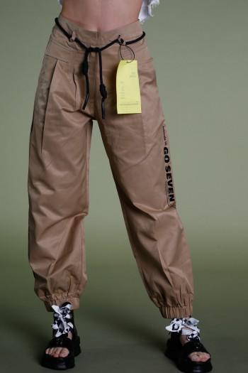 מכנסיים מעוצבים בגוון חום חמרה GO SEVEN