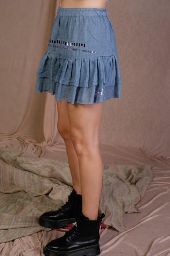 חצאית מיני שכבות תכלת גוון ג'ינס WARNING