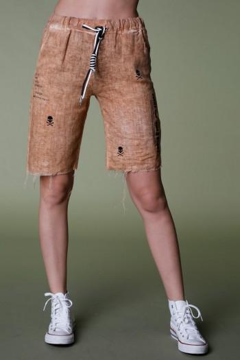 מכנסי ברמודה חומים  בד פשתן EVERY