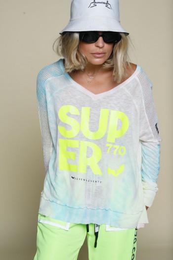 חולצת טאי דאי בגווני תכלת וורוד SUPER