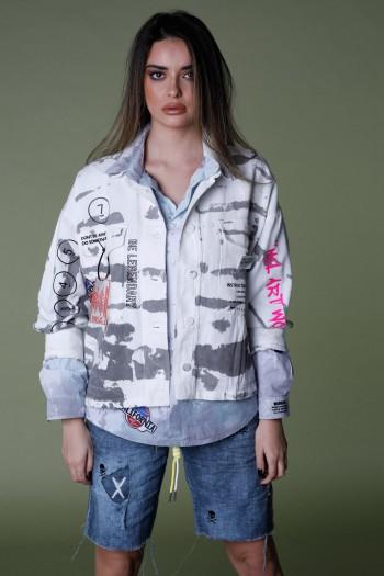 ג'קט ג'ינס בגווני טאי דאי אפור ולבן LEGENDARY
