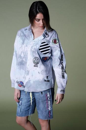 חולצת טאי דאי מכופתרת שרוול ארוך PRISON
