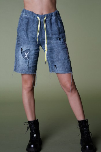 מכנסי ברמודה כחולים בד פשתן EVERY