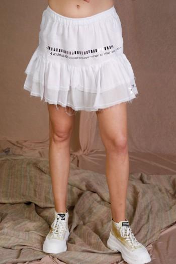 חצאית מיני שכבות לבנה WARNING