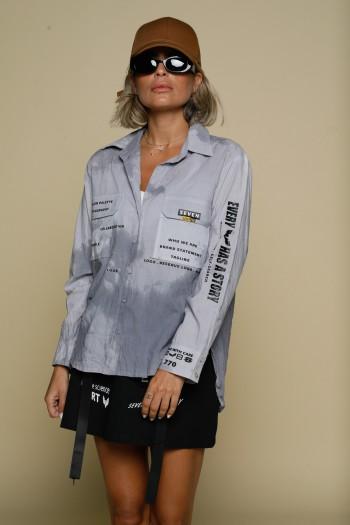 חולצה טאי דאי מכופתרת בגווני אפור PEOPLE