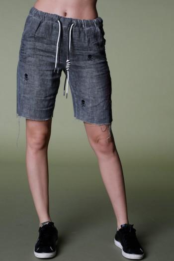 מכנסי ברמודה אפורים בד פשתן EVERY