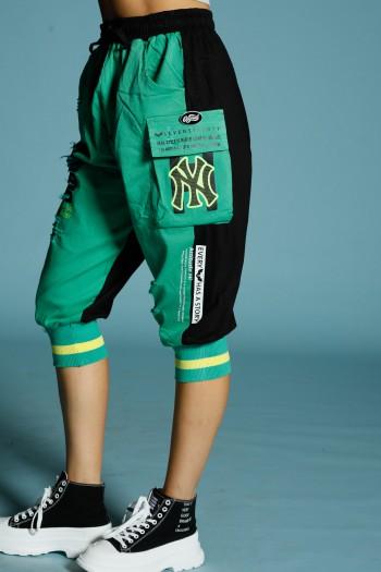 מכנס ג'וגר ברך ירוק-שחור NY