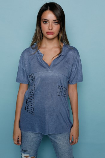 חולצת T כיסים כחולה NYC