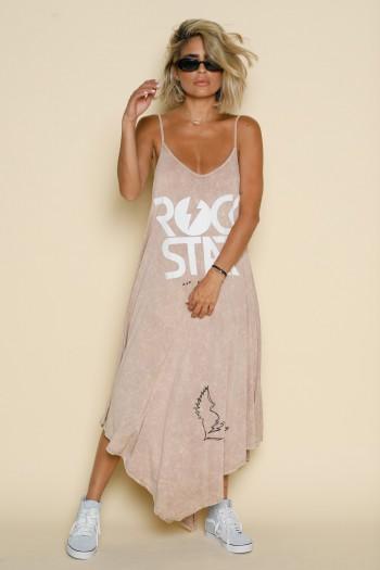 שמלת גופייה מקסי א-סימטרית בז' ROCK STAR
