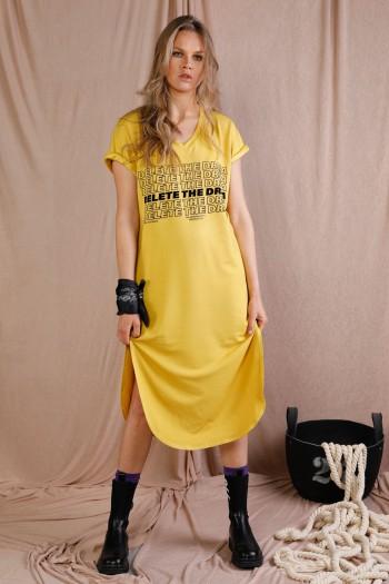שמלת מידי בגוון צהוב DELETE