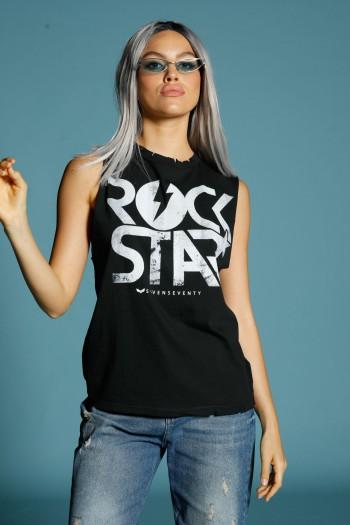 חולצת קרעים ללא שרוול שחורה  ROCK