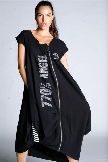 שמלה שחורה רוכסן בגזרה מתרחבת ANGEL