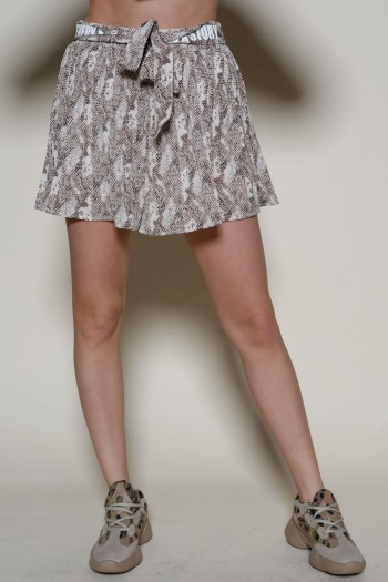 חצאית מכנסיים מיני שיפון הדפס מנוחש בגוונים חומים  STORY