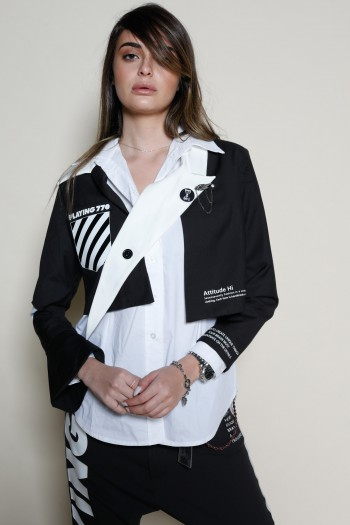 ג'קט שחור ולבן גזרה קצרה שרוול ארוך FUTURE