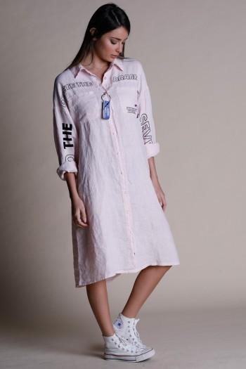 שמלת מידי פשתן מכופתרת בגוון ורוד DRAMA