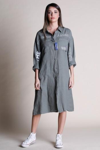 שמלת מידי פשתן מכופתרת בגוון זית DRAMA