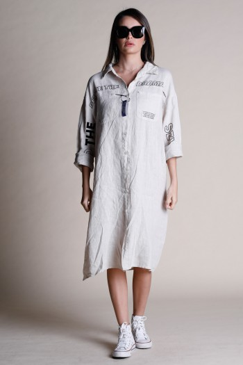 שמלת מידי פשתן מכופתרת בגוון בז' DRAMA