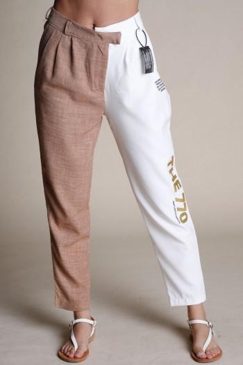 מכנסים בגזרה אלגנטית בשני צבעים לבן וחום THE 770