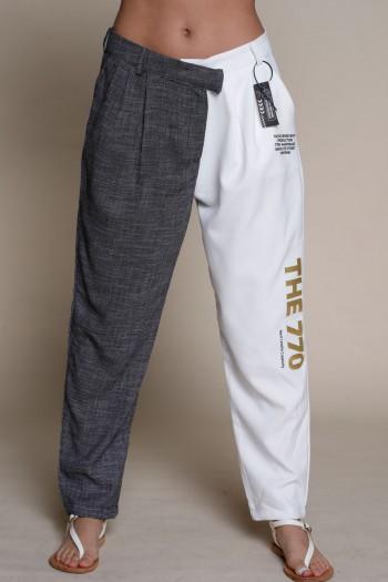 מכנסים בגזרה אלגנטית בשילוב צבעים לבן ואפור  THE 770