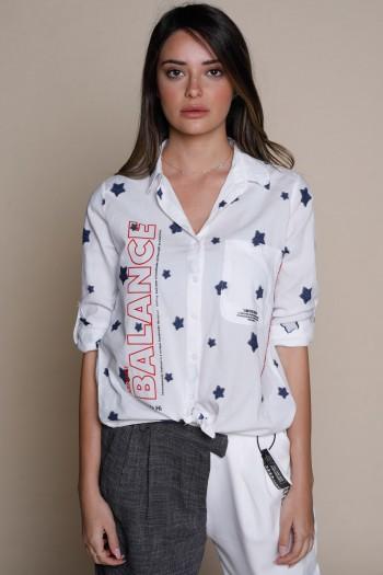 חולצה מכופתרת בשילוב כוכבי ג'ינס BALANCE