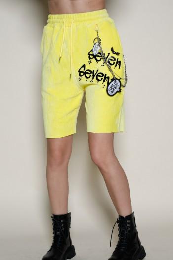 מכנסי ברמודה בד קורדרוי צהוב SEVEN
