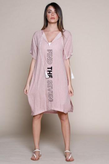 שמלת מידי בד כותנה עדין פסים בגוונים אדומים FIND
