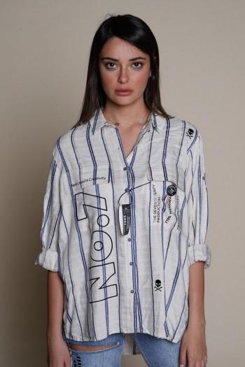 חולצה מכופתרת בגוון בז' עם פסים כחולים  NO 7