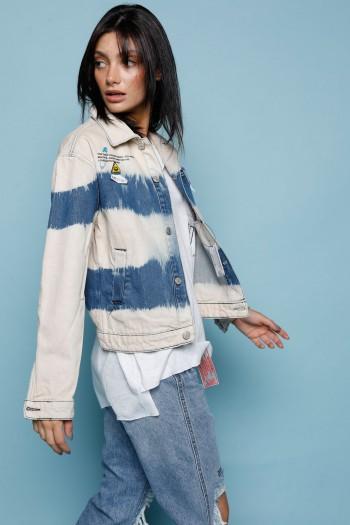 ג'קט ג'ינס בגווני אומברה כחול ובז' PLASTIC