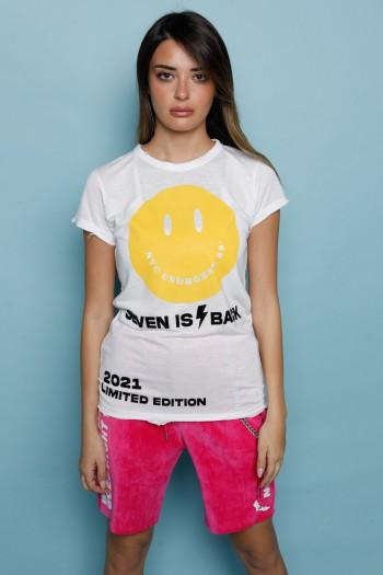 חולצת T בגימור קרעים לבנה SMILE