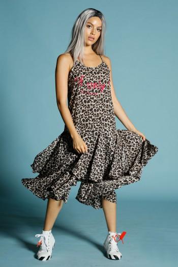 שמלת גופייה מקסי שכבות מנומרת הדפס פוקסיה ONLY