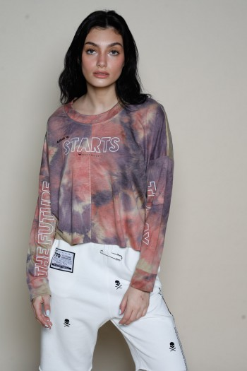חולצת טאי דאי בגזרה קצרה בגוונים חומים כתומים STARS