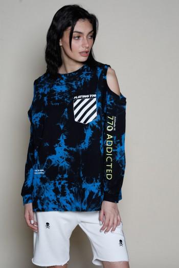 חולצת פוטר בגווני כחול-שחור פתחים בכתפיים PLAYING