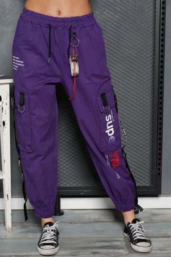 """מכנסיים סגולים מעוצבים בגזרת דגמ""""ח SUPER 770"""