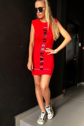 שמלה אדומה בגזרת מיני LIVE IT