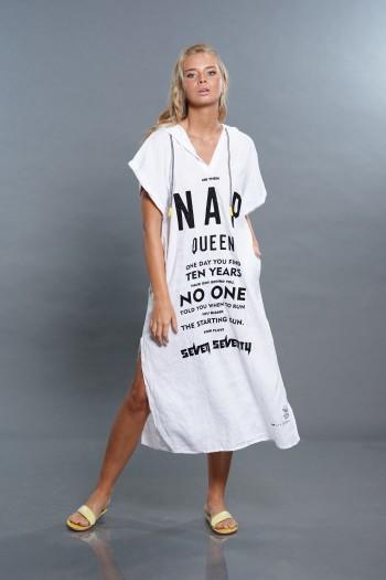 שמלה לבנה ארוכה מבד פשתן NAP