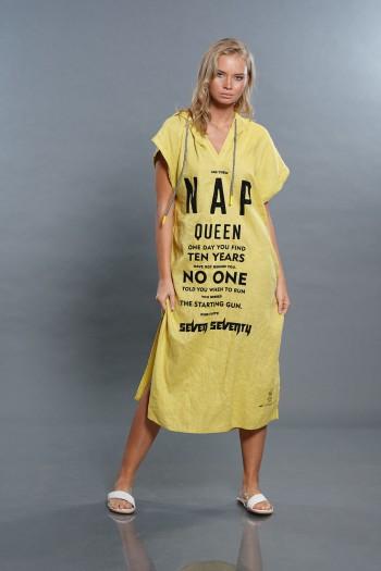 שמלה בגוון צהוב חרדל ארוכה מבד פשתן NAP