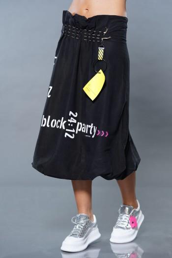 חצאית מעוצבת שחורה  PARTY