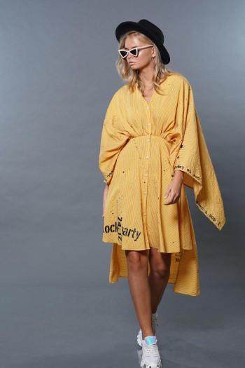 שמלת קימונו צהובה ROCK PARTY