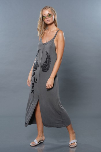 שמלת ספגטי כנפיים זית WINGS