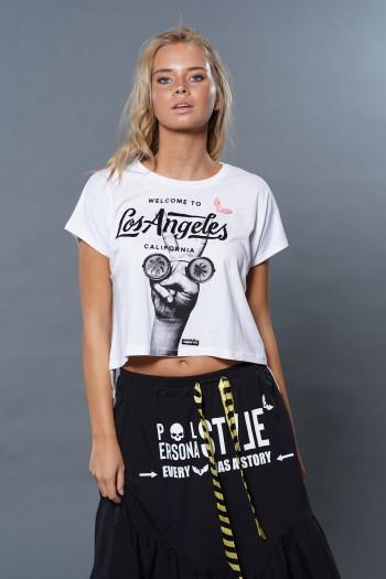 חולצת T לבנה Los Angeles